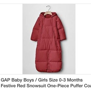 Gap Red Baby Puffer Snowsuit Bunting 3-6 months